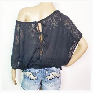 Free People  Sheer Black Floral Top Size Small